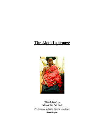Linguistic Analysis of the Akan Language [PDF] 78 Pages