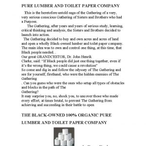 Toilet Paper Factory by Dr. Kamau Kambon [pdf] 46 pages